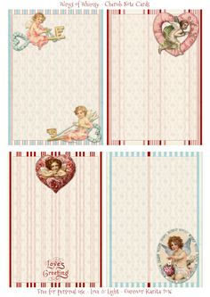 Wings of Whimsy: Valentine Stationery Note Cards #freebie #vintage #valentine #printable #stripes #note #card