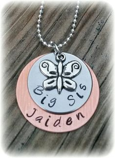 6d37a09defa9 Big Sis Personalized Necklace Mixed Metals Necklace layered butterfly  necklace New Sister Gift for Her Little Girl Gift Sister Announcement