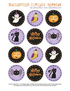 We Love to Illustrate: Happy Halloween Cupcake Toppers - Several different designs Halloween Imagem, Halloween Tags, Theme Halloween, Halloween Clipart, Halloween Prints, Halloween Birthday, Holidays Halloween, Vintage Halloween, Happy Halloween