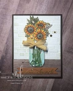 Jar of Flowers Shaker Card with the mason jar dome from Stampin Up Diy Halloween, Theme Halloween, Mason Jar Cards, Mason Jars, Love Jar, Sunflower Cards, Stampin Up Catalog, Stamping Up Cards, Shaker Cards