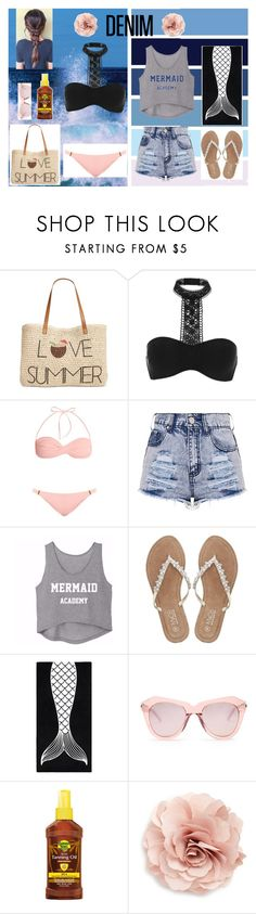 """""""👓☀️Tanning Day☀️👓"""" by heaven-cedeno ❤ liked on Polyvore featuring Style & Co., River Island, Melissa Odabash, M&Co, PBteen, Karen Walker, Banana Boat, Cara, DENIMCUTOFFS and tanningday"""