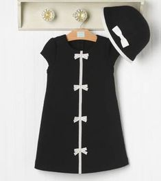 NWT Janie & Jack 'Bonjour Black & White' Bow Dress Hat 2 3 Girls Ribbon Knit Set