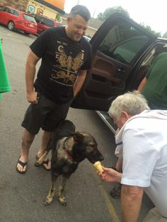 Max getting ice cream cone at the Dairy Queen from the owner who sponsered Tony early on in his career. Nascar 14, Nascar Sprint Cup, Nascar Champions, Ryan Newman, Kevin Harvick, Tony Stewart, Gsd Puppies, Jeff Gordon, German Shepherd Dogs