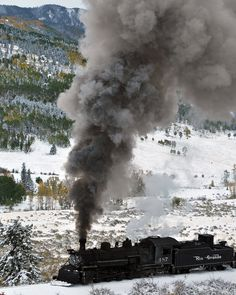 Steam train in snow with fall colors colorado fine by mistyphoto, $25.00