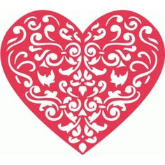Silhouette Design Store - View Design #58378: damask heart cutout
