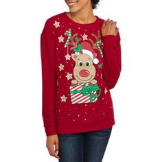 No Boundaries Juniors' Holiday Christmas Long Sleeve Pullover Sweater, Size: 2XL, Red