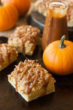 Cinnamon Caramel Pumpkin Cheesecake Shortbread Crumble Bars Recipe {via TheKitchenMcCabe.com}