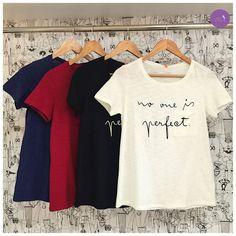 """Bom dia com a reflexão da t-shirt: """"ninguém é perfeito"""" #Vemprazas"""