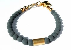 Bracelet ♥ grey & gold ♥ matte lava stone ♥ handmade jewellery by unique ♥ www.u-nique.biz
