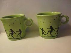 2-Mega-China-Homer-Fiesta-Chartreuse-Mystique-Mugs-Dancing-Ladies-Stars