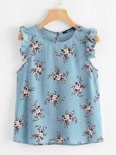 To find out about the Plus Ruffle Trim Floral Print Top at SHEIN, part of our latest Plus Size Blouses ready to shop online today! Plus Size Blouses, Plus Size Tops, Plus Size Dresses, Plus Size Women, Plus Size Outfits, Blouse Designs, Plus Size Fashion, Fashion News, Designer Dresses
