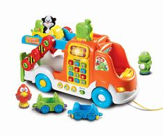 VTech - Pull and Learn Car Carrier features: Three animal characters are recognized when placed in the driver's seat. Pull and Learn Car Carrier. Toddler Learning, Learning Toys, Toddler Toys, Baby Toys, Interactive Learning, Infant Toddler, Toys For Boys, Kids Toys, Children's Toys