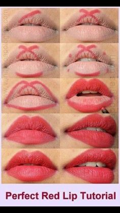 perfect red lips tutorial step by step - Trend Hair Makeup Flawless Skin 2019 Lipgloss, Red Lipsticks, Makeup Lipstick, Drugstore Makeup, Lipstick Dupes, Eyeliner Makeup, Red Lipstick Quotes, Lipstick Tricks, Fox Makeup