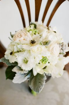 Ivory and creme bouquet with soft green leaves and berries... this size is perfect...