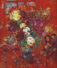 """""""LE BOUQUET AU FOND ROUGE,"""" 1965, Marc Chagall. Oil on canvas; 55 by 46.5cm. 22⅝ by 18¼ in. Sotheby's 2015 sale ₤1,205,000."""