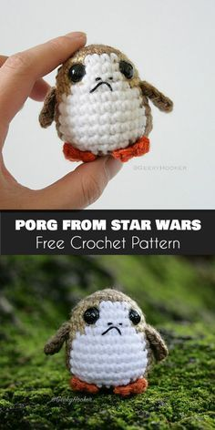 Porg from Star Wars: The Last Jedi [Free Crochet Pattern Klicke um das Bild zu sehen. Amigurumi Porg from Star Wars: The Last Jedi [Free Crochet Pattern] -Klicke um das Bild zu sehen. Amigurumi Porg from Star Wars: The Last Jedi [Free Crochet Pattern] - Crochet Diy, Crochet Gratis, Crochet Amigurumi Free Patterns, Crochet Dolls, Knitting Patterns, Crochet Ideas, Free Knitting, Disney Crochet Patterns, Doilies Crochet