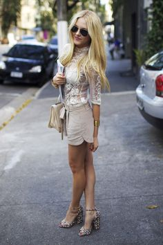 sheer lace blouse + taupe shorts + studded neutral peep toe ankle strap heels on Peace Love Shea