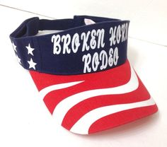 dcdfd32daed new BROKEN HORN RODEO SUN VISOR American Flag USA Stars And Stripe Men Women  Hat  Unbranded  Visor