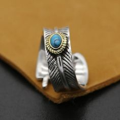 Men's Sterling Silver Turquoise Feather Wrap Ring - Jewelry1000.com