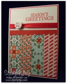 Nordic Noel Christmas Card  - blog.Stamp4Joy.com The patterned paper strips were cut at 1″ x 3-'1/2″ and glued along the bottom.