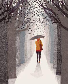 Illustrations by Lieke van der Vorst Art And Illustration, Illustrations Posters, Stock Design, Design Design, Rain Art, Umbrella Art, Dutch Artists, Illustrators, Cool Art