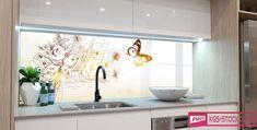 Splashbacks Glass design - Flowers and butterfly - 100518