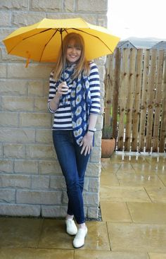 What Lizzy Loves: Outfit: Breton Striped Top, Daisy Scarf  and a Yellow Umbrella #iwillwearwhatilike