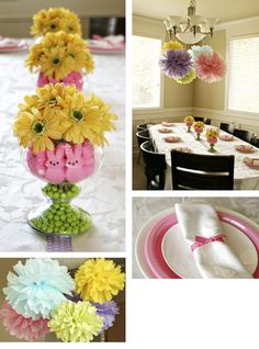 Easter table decor- While researching some easter party decorating ideas for an upcoming resident event I came across this center piece and fell in love with with the combination of flowers peeps and green m's.