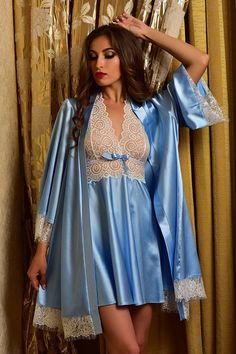 f86e76d69b This gorgeous bridal nightgown and robe set is made of stretch satin of  blue color.