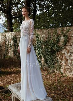 Wedding Dresses - $148.53 - A-Line/Princess Scoop Neck Sweep Train Chiffon Tulle Lace Wedding Dress With Appliques Lace Bow(s) (0025088673)