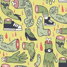 Body Parts! fabric by yukittenme on Spoonflower - custom fabric