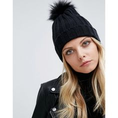 Missguided Faux Fur Pom Pom Beanie Hat ( 17) ❤ liked on Polyvore featuring  accessories ba12d17b8c69
