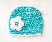 Bonnet Bébé Turquoise avec une fleur : Mode Bébé par happysmiles