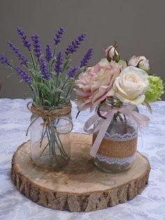 Sia artificial flowers in jam jars - wedding/event hire.  www.silkpetal.co.uk