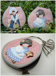 ~ Lovely applique crafts ~ Shabby chic applique key pouch by Premravee Hill - premravee blogspot