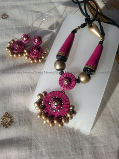 magenta terracotta jewelry,terracotta jewellery necklace set,Magenta and gold polymer clay jewelry,indian jewelry-color options available