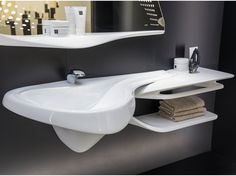 VITAE Washbasin with integrated countertop by NOKEN DESIGN design Zaha Hadid Architects