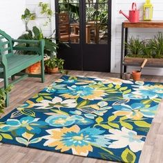 Hand-Hooked Cody Floral Area Rug x - Navy), Blue (Polypropylene, Floral & Botanical) Floral Area Rugs, Blue Area Rugs, Hand Hooked Rugs, Rectangle Area, Contemporary Area Rugs, Red Rugs, Indoor Outdoor Area Rugs, Carpet Stains, Online Home Decor Stores