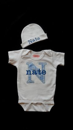 Baby Boy Clothes Monogramm Onesie Personalized Beanie by LilMamas, $26.00