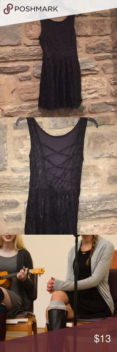 Black Lacey Dress Very adorable black Lacey dress from forever 21. Has a cute open back strappy detailing. Very flattering. Only worn twice but it's too short on me now. Size small.  Closet Rules! -no trades, sorry! -I do not talk about pricing in the comments, make an offer please! -ask all questions before purchasing -I know we all want a deal, but please keep in mind that posh takes 20% of all sales! -I do not decline any offers! -I drop off ASAP, typically same day if you buy before 2pm…