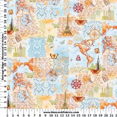 M''Liss World Travel Vignette Cotton Fabric - M Liss Boutique