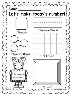 FREE- Number of the Day - Teaching Ideas - Education Numbers Kindergarten, Math Numbers, Preschool Math, Math Classroom, Teaching Math, Decomposing Numbers, Teaching Numbers, Teaching Ideas, Math Worksheets