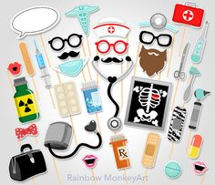 Doctor Party Printable Photo Booth Props - Nurse Photo Booth Props - Medical Photobooth Props - Pharmacist Photo Booth Props by RainbowMonkeyArt Nurse Photos, Medical Photos, School Parties, Grad Parties, Birthday Parties, Photo Booth Party Props, Doctor Party, Nurse Party, Photobooth Props Printable