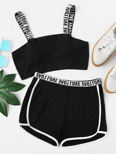 Two Tone Lettering Sports Bra & Shorts Set -SheIn(Sheinside) Kids Outfits Girls, Teen Fashion Outfits, Teenage Outfits, Sporty Outfits, Cute Outfits For Kids, Swag Outfits, Retro Outfits, Stylish Outfits, Cool Outfits