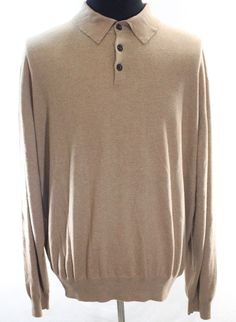 Orvis Tan Pullover Polo Sweatshirt Mens 2XL Cashmere Silk Blend XXL Banded Waist #Orvis #Sweatshirt