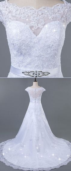 Exquisite Tulle Bateau Neckline A-line Wedding Dress With Lace Appliques & Belt