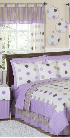 Mod Purple Dots Girls Bedding