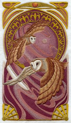 ART NOUVEAU BARN Owl Machine Embroidered Quilt by AzEmbroideryBarn Art Nouveau, Machine Embroidery Design, Barns Owls, Embroidery Libraries, Owls Machine, Embroidery Designs, Quilts Block, Embroidered Quilts, Barn Owls