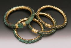 Jewelry Artist Ronda Coryell created these amazing bracelets from bronze dating from 500 BC. They are hammered and laser welded and have gold and granulated accents. Jade Jewelry, Ethnic Jewelry, Jewelry Art, Jewelry Design, Love Bracelets, Jewelry Bracelets, Jewelery, Ancient Jewelry, Antique Jewelry