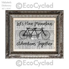 New to EcoCycled on Etsy: Marvelous Adventures Together Bicycle Built for Two on Vintage Upcycled Dictionary Art Print Book Art Print Wedding Anniversary Love Tandem (10.00 USD)